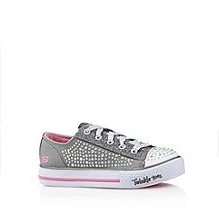 Skechers - Girl's silver studded 'Twinkle Toes' lace up trainers