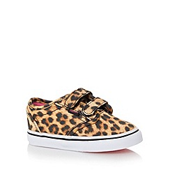 Vans - Girl's tan leopard print two tab trainers