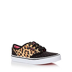 Vans - Girl's tan leopard printed and studded trainers