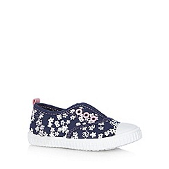 bluezoo - Girl's navy flower shoes