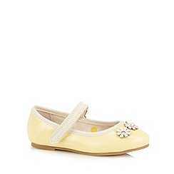 bluezoo - Girl's yellow applique flower ballet pumps