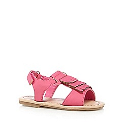 bluezoo - Girl's bright pink fringed sandals