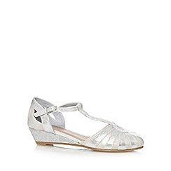 bluezoo - Girl's silver closed toe low wedge sandals