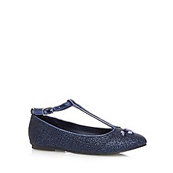 bluezoo - Girl's navy jewel and glitter pumps