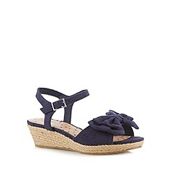 bluezoo - Girl's navy broderie bow wedge sandals