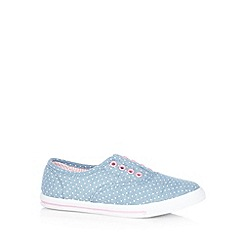 bluezoo - Girl's blue spotted lace free trainers