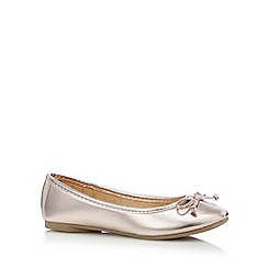 bluezoo - Girl's bronze metallic bow pumps