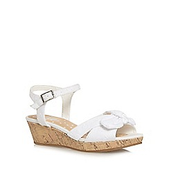bluezoo - Girl's white broderie bow wedges