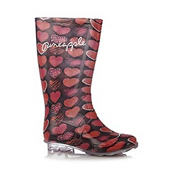 Pineapple - Girl's pink heart wellington boots