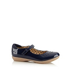 bluezoo - Girl's navy star patent shoes