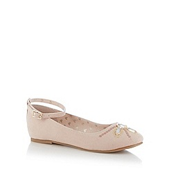 bluezoo - Girl's pale pink embellished toe pumps