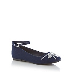 bluezoo - Girl's navy embellished toe pumps