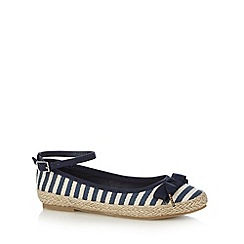 bluezoo - Girl's navy striped espadrilles