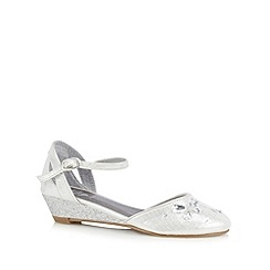 bluezoo - Girl's silver butterfly embellished wedges