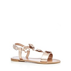 bluezoo - Girl's light gold floral T-bar strap sandals