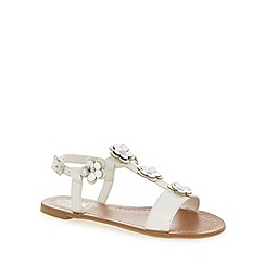bluezoo - Girl's white floral T-bar strap sandals