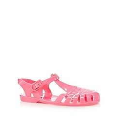 bluezoo - Girl's bright pink caged jelly sandals