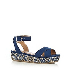 bluezoo - Girl's navy woven aztec wedge sandals