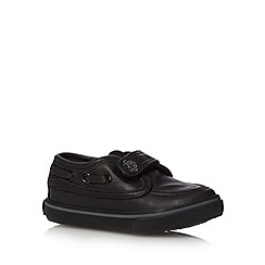 bluezoo - Boy's black PU school boat shoes