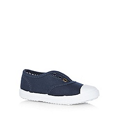 bluezoo - Boy's navy lace free trainers