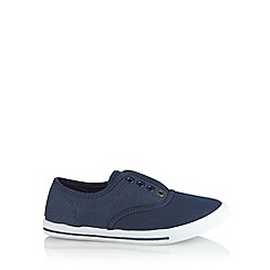 bluezoo - Boy's navy lace free slip on shoes
