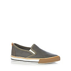Mantaray - Boy's grey perforated slip on shoes