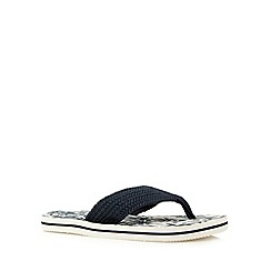 Mantaray - Boy's navy beach print flip flops