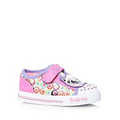 Skechers - Girl's pink owl applique light up trainers