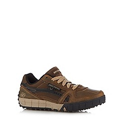 Skechers - Boy's brown lace up trainers