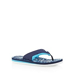 Animal - Boy's navy graphic logo print flip flops