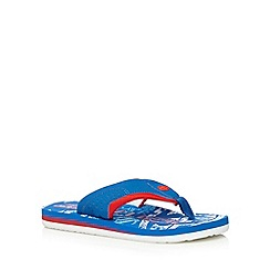 Animal - Boy's bright blue graphic logo flip flops