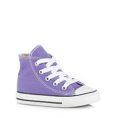 Converse - Girl's purple logo printed hi-top trainers
