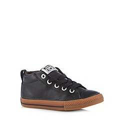 Converse - Boy's black lace up leather trainers