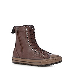 Converse - Boy's brown leather zipped 'All Star' boots