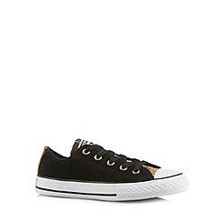 Converse - Girl's black leather leopard tongue 'All Star' trainers
