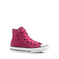Converse - Girl's pink leopard suede 'All Star' hi-top trainers