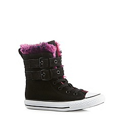 Converse - Girl's black leather faux fur trim 'All Star' boots