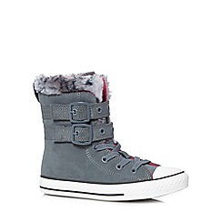 Converse - Girl's grey leather faux fur trim 'All Star' boots