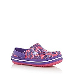 Crocs - Girl's pink tropical print relaxed fit crocs