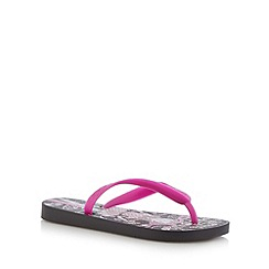 Ipanema - Girl's black 'best friends' printed flip flops