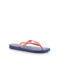 Ipanema - Girl's navy floral and spotted flip flops