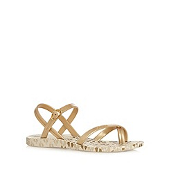 Ipanema - Girl's gold brick design flip flops