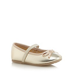 bluezoo - Girl's gold patent bow shoes