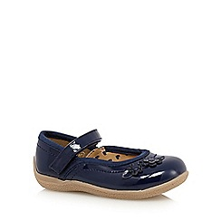 bluezoo - Girl's navy floral patent shoes