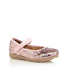 bluezoo - Girl's pink sequin floral crepe shoes