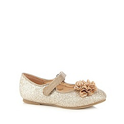 bluezoo - Girl's light gold corsage detail glitter pumps