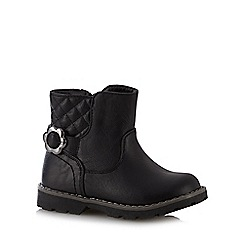 bluezoo - Girl's black quilted biker ankle boots