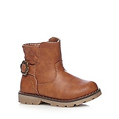 bluezoo - Girl's tan quilted biker ankle boots