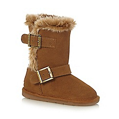 Mantaray - Girls' tan faux fur boots