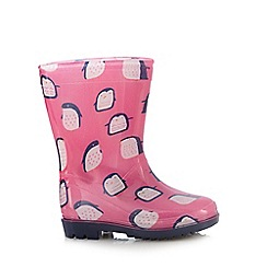 bluezoo - Girls' pink penguin print wellington boots